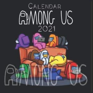 Calendario pared personajes en el sofa Among Us