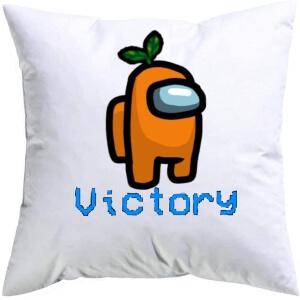 Cojin personaje naranja con planta victory Among Us