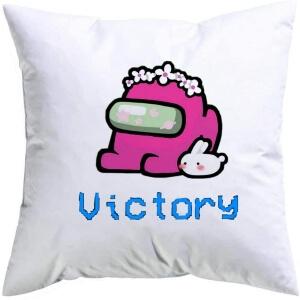 Cojin personaje rosa con conejo victory Among Us
