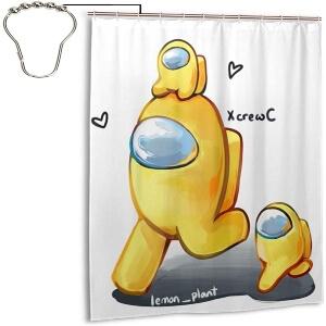 Cortina de ducha personaje con mini personajes amarillos Among Us