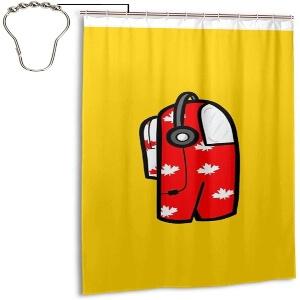 Cortina de ducha personaje rojo con auriculares Among Us