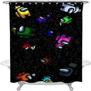 Cortina de ducha personajes con atuendos en el espacio Among Us