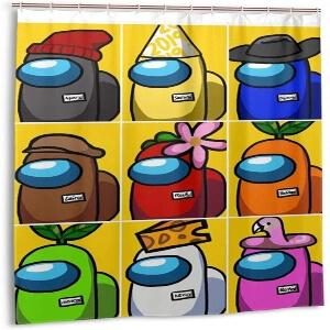 Cortina de ducha personajes con muchos atuendos Among Us
