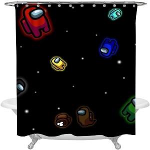 Cortina de ducha personajes en el espacio Among Us