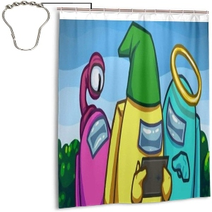Cortina de ducha personajes mirando una pantalla Among Us