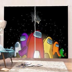 Cortinas antiruido personajes con nave espacial Among Us