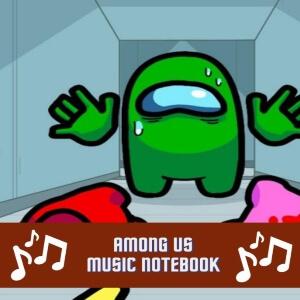 Cuadernos de musica personaje verde con cadaveres de Among Us