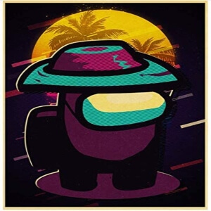 Cuadro personaje con sombrero Among Us