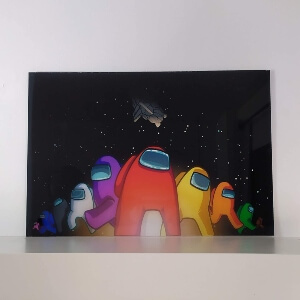 Cuadro personajes con nave espacial Among Us