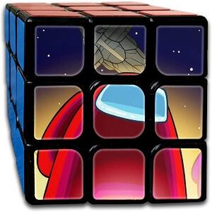 Cubo Rubik personaje rojo y nave Among Us