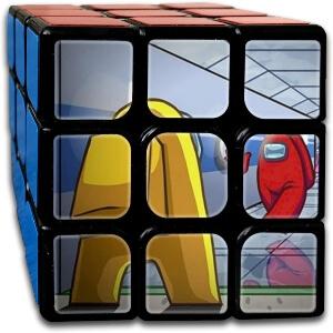 Cubo Rubik personajes en el pasillo Among Us