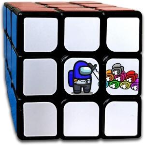 Cubo de Rubik personaje azul con cadaveres Among Us
