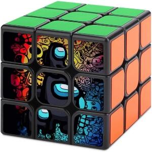 Cubo de Rubik personaje negro con mini personajes Among Us