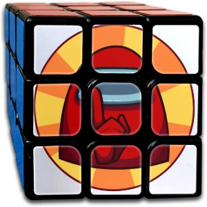 Cubo de Rubik personaje rojo con mano Among Us