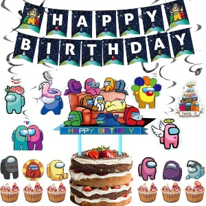 Decoracion fiesta de cumpleaños muchos personajes Among Us