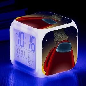 Despertador personaje rojo con nave espacial Among Us