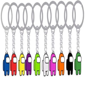 Diez llaveros personajes diferentes colores de Among Us