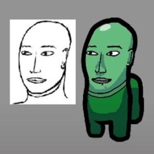 Diseño personaje de Among Us con cara humana