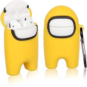 Funda auriculares inalambricos con mosqueton personaje amarillo Among Us