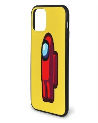Funda movil iphone 11 personaje rojo con mochila Among Us