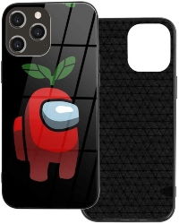 Funda movil iphone 12 personaje rojo con planta Among Us