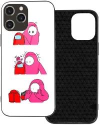 Funda movil iphone 12 personaje rosa y rojo Among Us