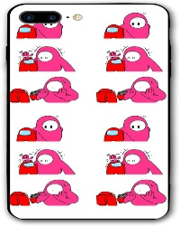 Funda movil iphone 7 y 8 personaje rosa y rojo con pistola Among Us