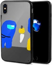Funda movil iphone X personaje azul dibujado Among Us