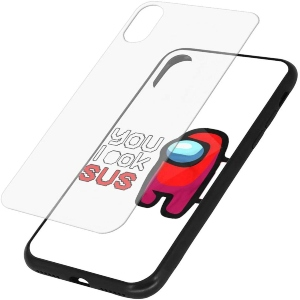 Funda movil iphone X y XS personaje rojo you look susAmong Us
