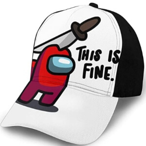 Gorra personaje rojo this is fine Among Us