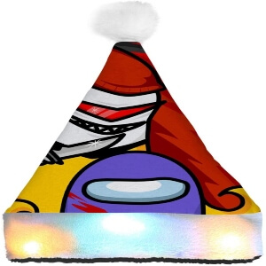 Gorro Navidad alien con cuchillo y personaje morado Among Us