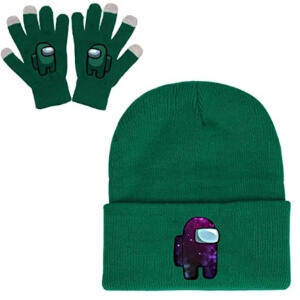 Guantes y gorros personaje verde Among Us