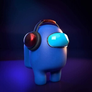 Juguete personaje azul con auriculares Among Us