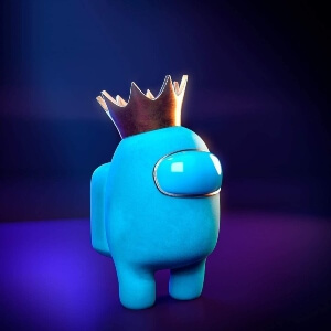 Juguete personaje celeste con corona Among Us
