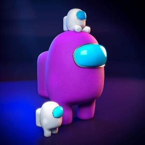 Juguete personaje morado con mini personajes Among Us