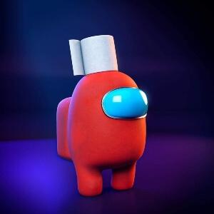 Juguete personaje rojo con papel higienico Among Us