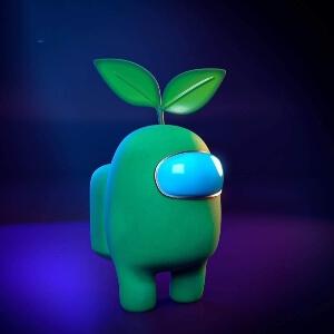 Juguete personaje verde con planta Among Us