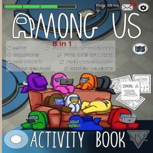 Libro de actividades personajes en el sofa Among Us