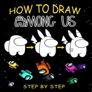 Libro dibujar muchos personajes Among Us