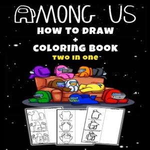 Libro dibujar y pintar dos en uno Among Us