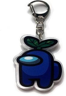 Llavero acrilico personaje azul con planta Among Us