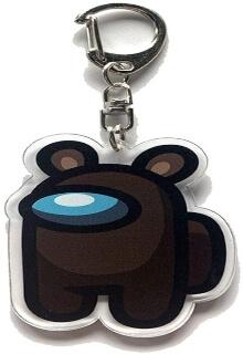 Llavero acrilico personaje marron con orejas de oso Among Us