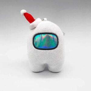 Llavero personaje blanco con gorro navidad Among Us