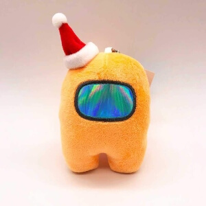 Llavero personaje naranja con gorro navidad Among Us