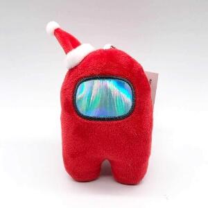 Llavero personaje rojo con gorro navidad Among Us
