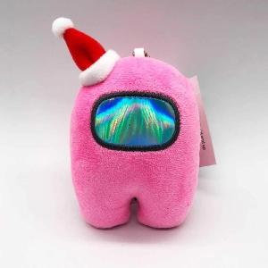 Llavero personaje rosa con gorro navidad Among Us