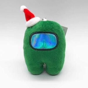 Llavero personaje verde con gorro navidad Among Us