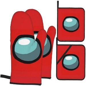 Manoplas y soportes ollas ojo personaje rojo Among Us