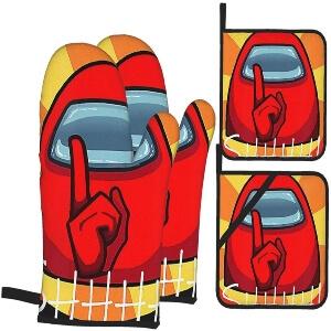 Manoplas y soportes ollas personaje rojo con mano shhhhhhh Among Us