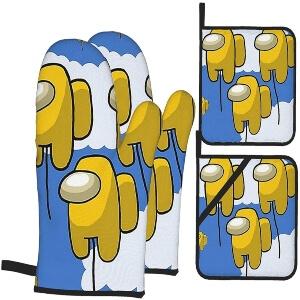 Manoplas y soportes ollas personajes amarillos globos Among Us